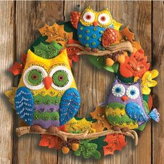 Mary Maxim - Owls Wreath Felt Kit Special Price: $23.99