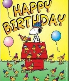 Happy Birthday - Snoopy, Woodstock and Friends Wearing Birthday Hats With Balloons Floating Nearly Happy Birthday Snoopy Images, Happy Birthday Pictures, Happy Birthday Funny, Happy Birthday Messages, Happy Birthday Quotes, Happy Birthday Greetings, Peanuts Happy Birthday, Birthday Hats, Birthday Ideas