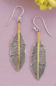 14K Gold Plated Oxidized Sterling Silver Feather Earrings, on French Wire, 1-3/4 inch long Silver Messages. $64.99