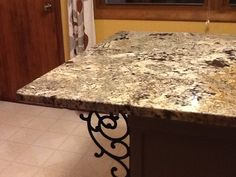 Granite countertop with cast iron corbel