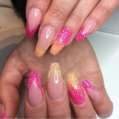 Pink and orange coffin nails