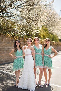 green patterened bridesmaid dresses http://www.weddingchicks.com/2013/09/13/pink-and-mint-wedding/