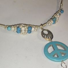 Boho Hippie Chic Peace Sign Choker with Turquoise Cultured Pearls Freshwater Pearl Gemstones wire wrapped in Tarnish Resistant Artistic Wire - Needs size to complete. Can add leather instead of chain. See pic