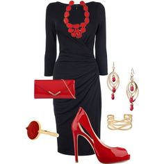 Black dress with red accessories