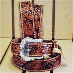 Tony Lama Floral Hand Tooled Western Leather Belt Tan