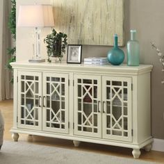 Shop for Transitional Wooden Accent Cabinet With Lattice Doors, White. Get free delivery On EVERYTHING* Overstock - Your Online Furniture Shop! Wide Sideboard, Decor, Sideboard, Accent Cabinet, Cabinet, Furniture, Accent Decor, Furniture Anchors, Accent Doors