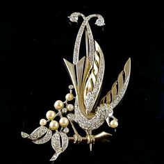 Rare 1948 MB Boucher Large Gold and Pave Lyrebird on a Branch with Pearl Berry Figural Pin Brooch