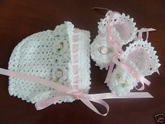 Crocheted Baby Bonnet&Booties-For Infant or Reborn Doll