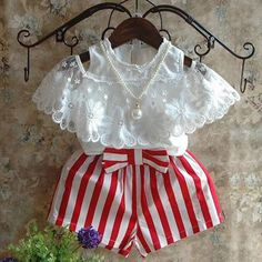 Summer Girls Clothing Sets Bud Silk Lace Short Sleeves + Red Stripe Shorts  2Pcs Children s Clothing 47e87c2a0