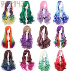 Pastel Wig Harajuku Ombre Wig Pelucas Pelo Curly Natural Synthetic Wigs Heat…