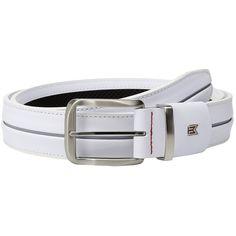 Nike Tiger Woods Stripe w/ G-Flex (White/Wolf Grey) Men's Belts ($70) ❤ liked on Polyvore featuring men's fashion, men's accessories, men's belts, mens grey belt, mens real leather belts, mens white leather belt, mens gray belt and mens adjustable belts