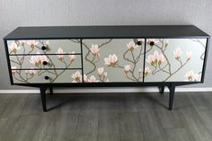 60's retro vintage teak sideboard upcycled in cole & son decoupage magnolia | eBay