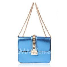 $11.41 Casual Women's Shoulder Bag With Rivets and Metallic Chain Design