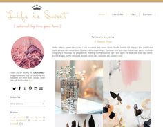 Premade Blogger Template - LIFE IS SWEET - Mobile Responsive Template - Graphic Design - Blog Template by LisasMenagerie on Etsy https://www.etsy.com/listing/180601301/premade-blogger-template-life-is-sweet