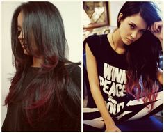 fashion and easy black and red ombre color medium hair styles