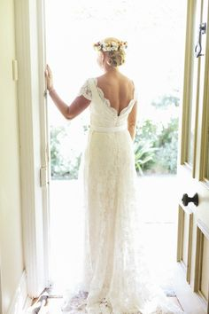 2f2c5dc0183 Collette Dinnigan French Corded Lace Cap Sleeve Dress with Train Wedding  Dress