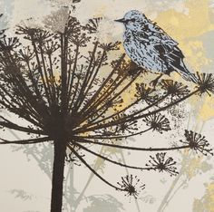 'Blue Bird On Cow Parsley' By Printmaker and Mixed media Artist Claire Cockayne. Blank Art Cards By Green Pebble. www.greenpebble.co.uk