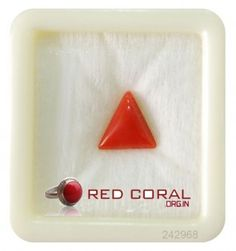 The Weight of Natural Coral is about 2.4 carats, The shape/cut-style of this Natural Coral is Triangular, This 2.4 carat Natural ‪#‎RedCoral‬ is available to order and can be shipped anywhere in the world, Gemstone certification is provided by GemLab.