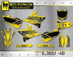 Black and yellow full graphics kit for Yamaha YZ 250 UFO RESTYLED including WHITE number plate backgrounds Yamaha Yz 125, Black N Yellow, Ufo, Custom Design, Graphics, Retro, Decals, Motorbikes, Bespoke Design