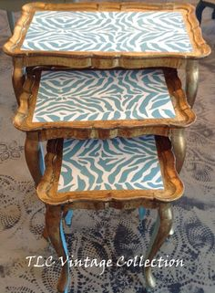 TLC Vintage Collection  rehab of three tole stacking tables using Chalk Paint® decorative paint by Annie Sloan in Pure White and Provence with a zebra print stencil! #chalkpaint #morethanchalkpaint
