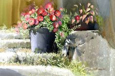 "Fine Art and You: Korean Watercolor Painter ""Shin Jong Sik"" Gold Watercolor, Watercolor Landscape, Watercolour Painting, Watercolor Flowers, Watercolors, Korean Artist, Beautiful Paintings, Art Blog, Porches"