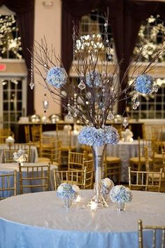 Set the perfect scene for romance and beauty at your wedding reception with these gorgeous blue wedding centerpiece ideas! Silver Wedding Centerpieces, Tree Branch Centerpieces, Flower Centerpieces, Wedding Decorations, Centerpiece Ideas, Decor Wedding, Manzanita Centerpiece, Crystal Centerpieces, Backdrop Wedding
