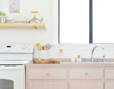 Our Freshly Painted Mauve Kitchen Cabinets (And A Trick For Using Hidden Hinges) | Young House Love Hidden Hinges, Concealed Hinges, Kitchen Post, Updated Kitchen, Kitchen Chairs, Kitchen Cabinets, Staircase Manufacturers, Sherwin Williams White, Wood Putty