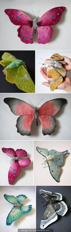 The detail inthe embroidery of these moths are really lifelike. i think these would make good accessories to sew to a dress or costume. Giant Life-Like Moths And Butterflies Made Of Embroidered Fabric by Yumi Okita Textile Sculpture, Art Textile, Soft Sculpture, Wet Felting, Needle Felting, Fabric Art, Fabric Crafts, Butterfly Art, Fabric Butterfly