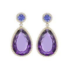 Candy Tanzanite and Amethyst Drop Earrings