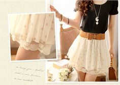 (7) Fancy - Nice Lace Wave Point Skirt With The Belt on Luulla
