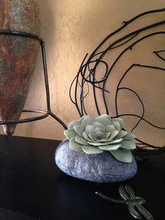 succulent felt plant simple stone от miasole на Etsy