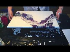 Acrylic pouring with 2 puddles, Bright & Metallic Colours - YouTube