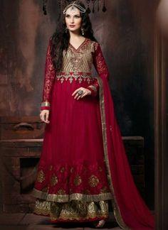 Dazzling Red Stone Work Net Long Anarkali Salwar Kameez http://www.angelnx.com/Salwar-Kameez/Anarkali-Suits