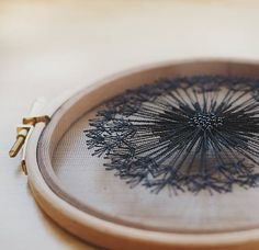 Delicate and bohemian one-of-a-kind hand embroidered hoop art Black Dandelion for all those dreamers, who believe in little magic things. Just close your eyes, make a wish and blow... Dainty dandelion hand embroidery with DMC cotton embroidery thread on black tulle fabric. Framed in 5