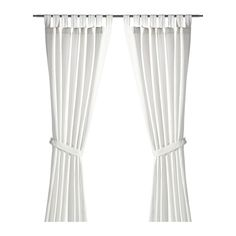 LENDA Curtains with tie-backs, 1 pair - 55x98 $19.99 I like it wout the tiebacks. . . could add a ribbon stripe for interest.