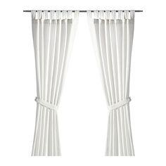 IKEA - LENDA, Cortinas &alzapaños, 1par, , Las cortinas filtran la luz y proporcionan privacidad, porque evitan que se vea la estancia desde el exterior.Las presillas de la parte superior te permiten colgar directamente las cortinas a la barra.