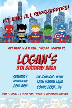 Birthday calling all superheros party invitation wording superhero superhero birthday party invitation by wonderdreamdesigns on etsy stopboris Gallery