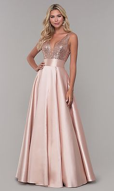 Women's Sequin Rose Gold Prom Dresses Long V-Neck Backless Bridesmaid Dresses Formal Evening Ball GownsShop sequin-bodice designer prom dresses at PromGirl. Sequin-bodice long formal dresses and Dave and Johnny satin dresses with open-back sequin bod Backless Bridesmaid Dress, Backless Long Dress, Gold Prom Dresses, Designer Prom Dresses, Satin Dresses, Elegant Dresses, Beautiful Dresses, Long Dresses, Formal Dresses