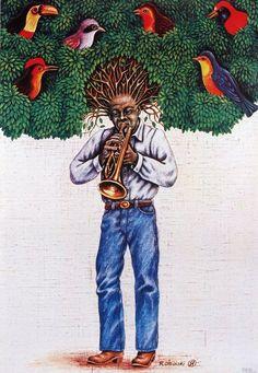 Rafal Olbinski - Jazz Trumpet Player with Tree Hair 1981