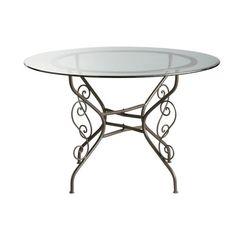 Table ronde de salle à manger en verre et fer forgé D 120 cm