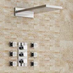 Thermostatic Mixer Shower Kit, 230x550mm Rectangular Head & Body Jets - Mavue Finest - £290 Mixer Shower, Loft Bathroom, Shower Kits, Jets, Wall Tiles, Tile Floor, Photo Wall, Flooring, Design