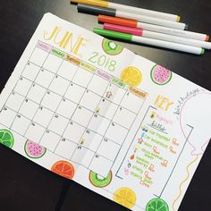 June Bullet Journal- Monthly Calendar