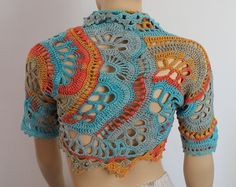FREEFORM Crochet Knitted Shrug Bolero 3/4 by levintovich