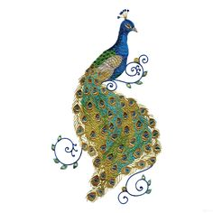 Free Embroidery Software Jef | Swnpa136 Peacock Embroidery Design