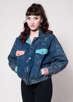 "littlealienproducts:  ""Vintage Color block Denim Jacket from rumors  """