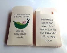 50 - Custom Printed Baby Shower Favor Seed Envelopes - Many Colors Available