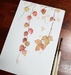 671 Likes 7 Kommentare Dami-art (@ dami. Watercolor Leaves, Watercolor Cards, Watercolour Painting, Painting & Drawing, Painting Flowers, Watercolors, How To Paint Flowers, Flower Artwork, Flower Paintings