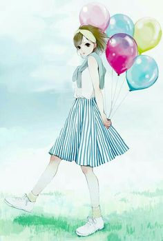 Anime girl and balloon Anime Art Girl, Manga Art, Manga Anime, Korean Anime, Painting Of Girl, Girl Paintings, Anime Dolls, Creative Artwork, Manga Illustration