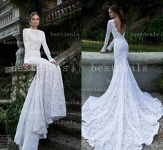 Cheap Long Sleeves Dresses - Discount 2014 Long Sleeve Sheer Lace Wedding Dresses Sexy Online with $155.87/Piece | DHgate