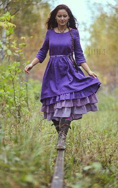 Платья ручной работы. Многослойное платье из льна «Лавандовое». Ксения Берестовая. Интернет-магазин Ярмарка Мастеров. Однотонный, стиль бохо